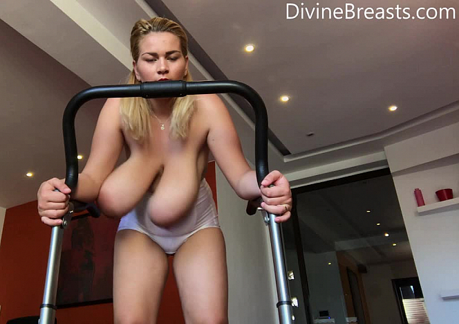 Erin Star Topless on the Treadmill
