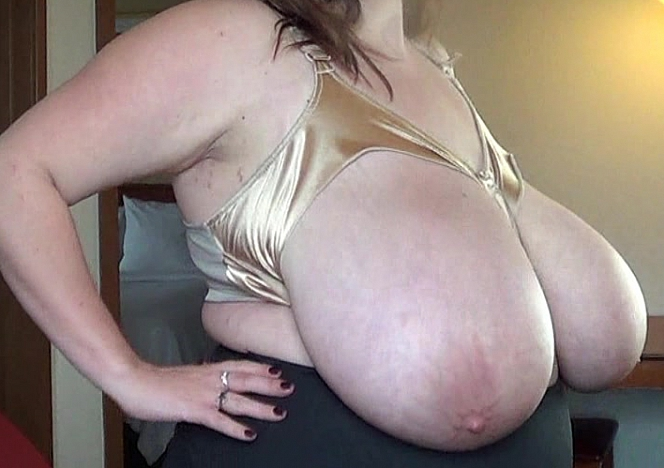 Huge mature milk filled jugs happened the