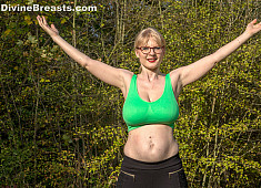 Casey Deluxe Busty Exercise Outside